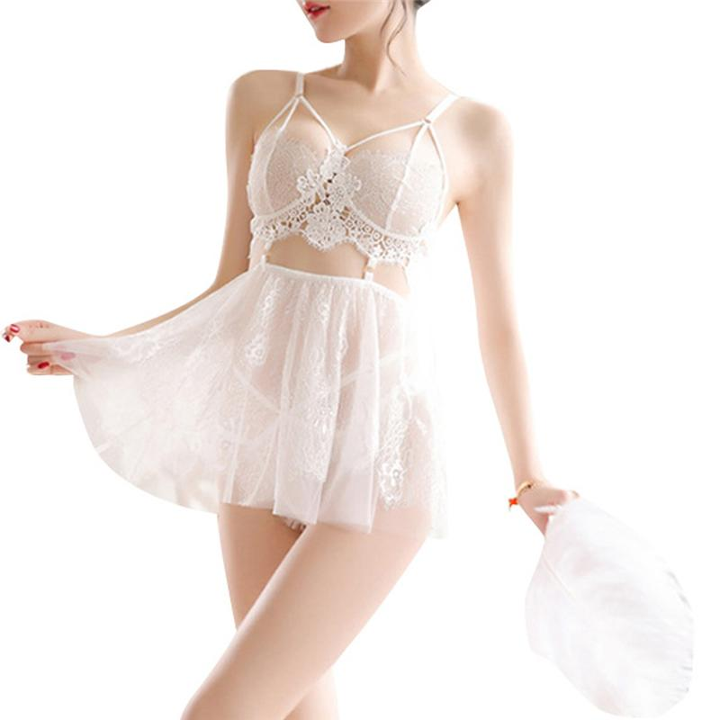 Hirigin Sexy Mulheres Sexy Lingerie Erotic Sex Roupa Babydoll Nightwear G-string Lace See-Through Sólidos mini vestido