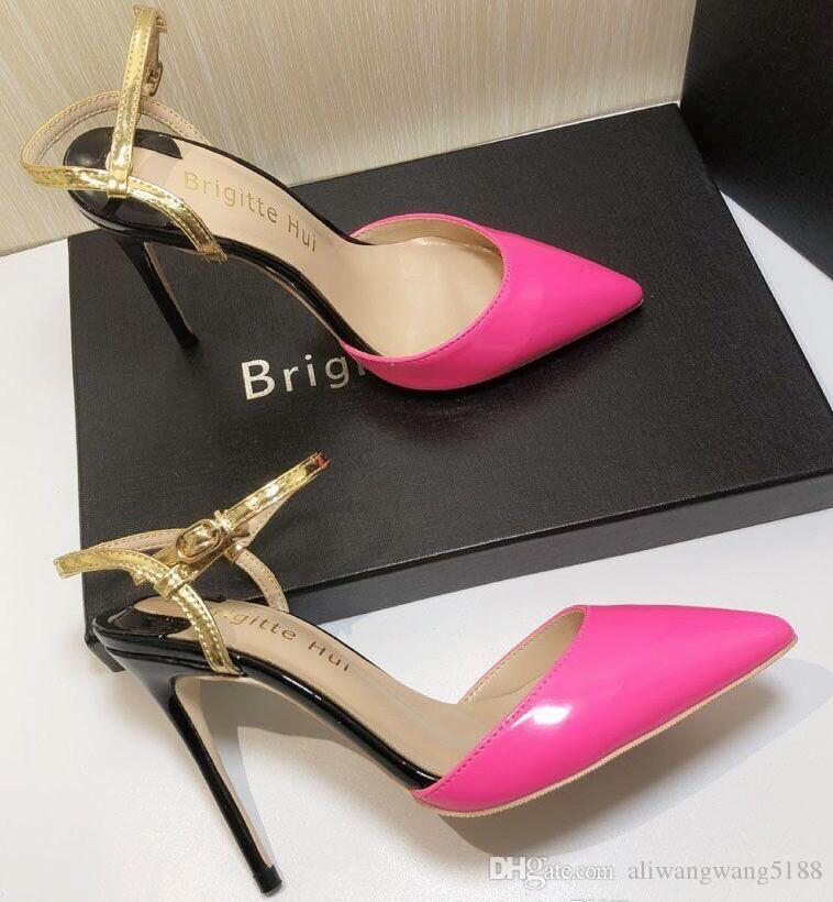 34a21c105dc 2019 free shipping Wedding women lady fashion Neon pink patent leather  Poined Toes high HEELED heels shoes Stiletto Heel shoes pump 10cm