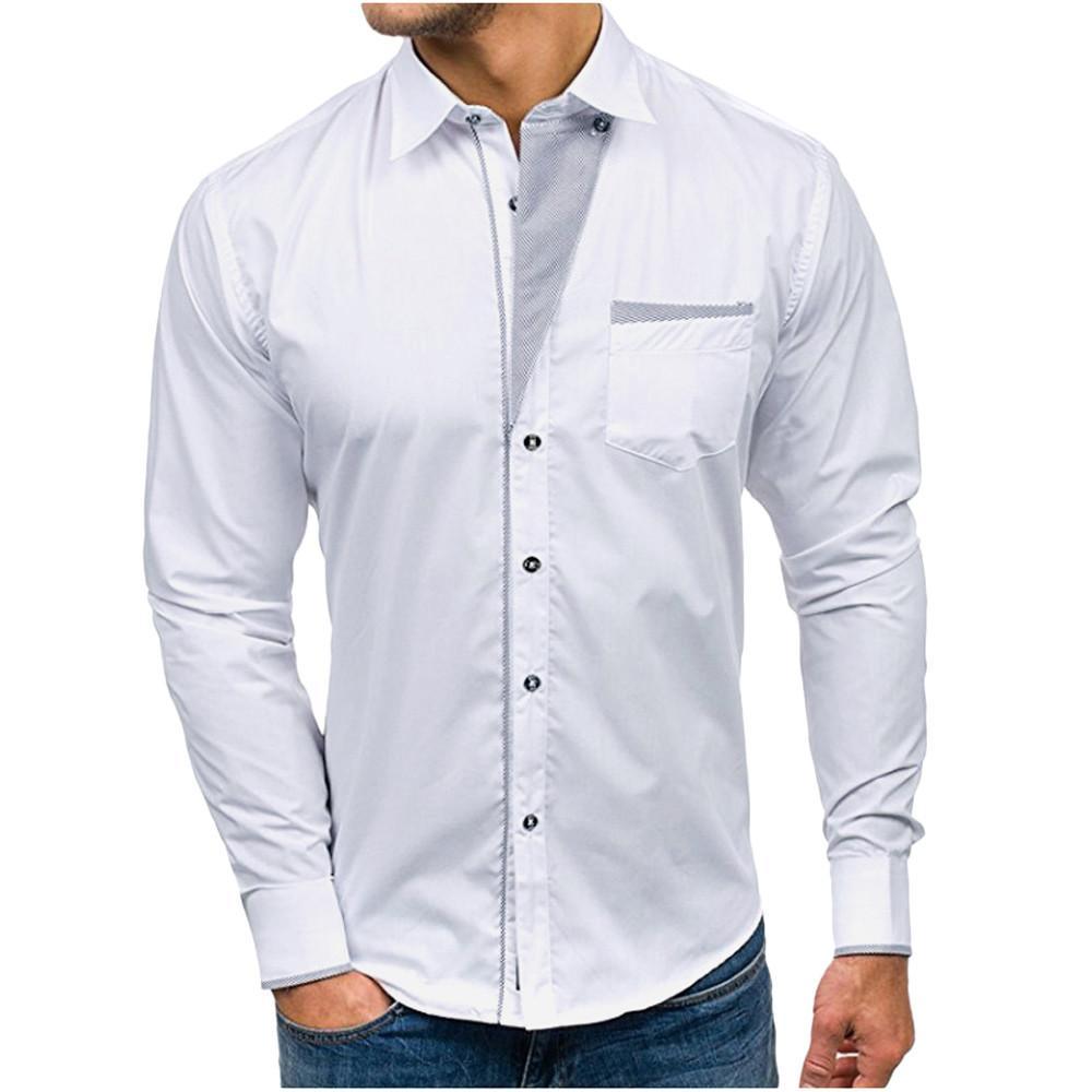 new style 7f019 4fd20 2019 Streetwear Klassisches Hemd Männer Langarm Stehkragen Hemd Männer  Korean Fashion Trend Übergröße Männliche Casual Shirts Camisas Ho