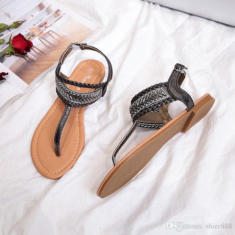 New Chain With Rhinestone Sandals Flat Heel Flip Flops Fashion Sexy ...