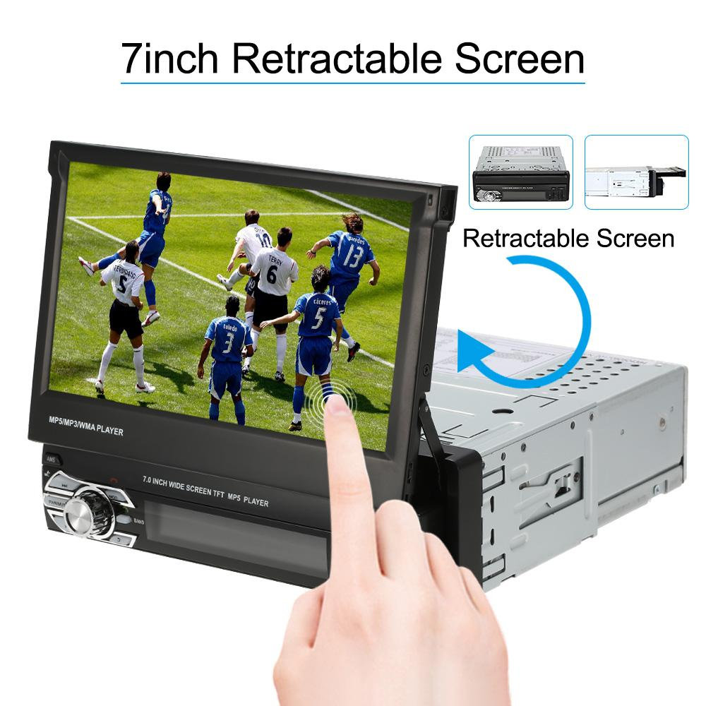 Freeshipping Universal 7inch Retractable One Din MP5 Player Car Stereo Radio Player Multimedia Entertainment with Bluetooth FM USB SD