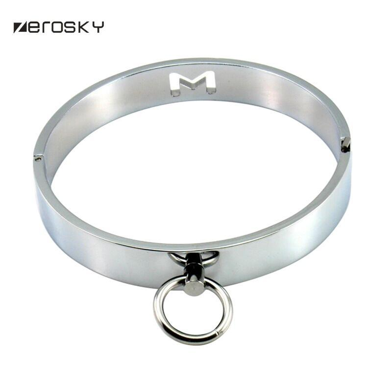 Zerosky metal Neck Collar BDSM Sexy Leash Anel Cadeia Slave Bondage Erotic Toys Role Play Erotic Sex Toys For Women Men