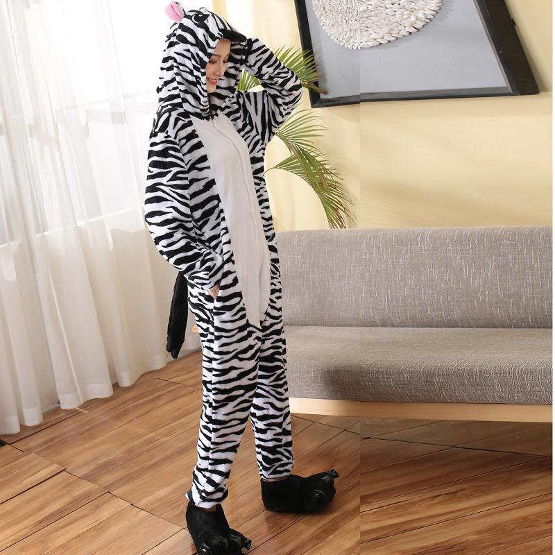 2019 Funny Flannel Adult Onesie Zebra Animal Kigurumi For Women Winter  Pajamas Bodysuit Cosplay Unisex Sleepwear Halloween Pyjamas From Home5 9a7beb454