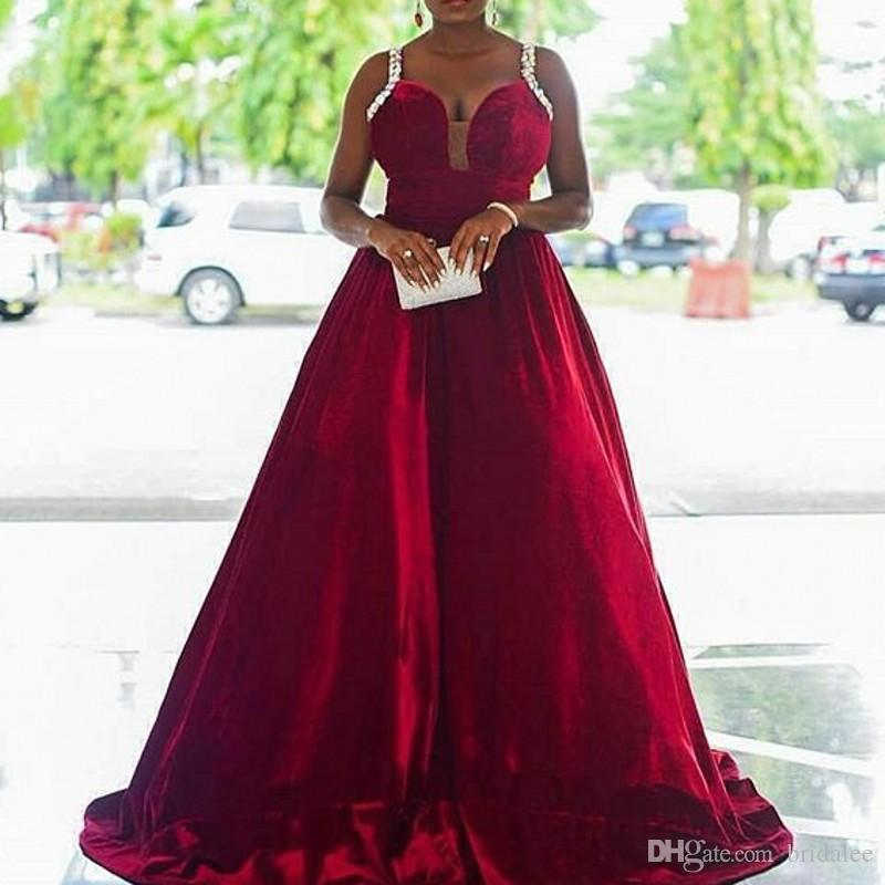 abendkleider 2020 Burgundy Formal Dresses A Line Party Gowns Beaded Spaghetti Straps Evening Dresses African Black Girls abiye robe de soire