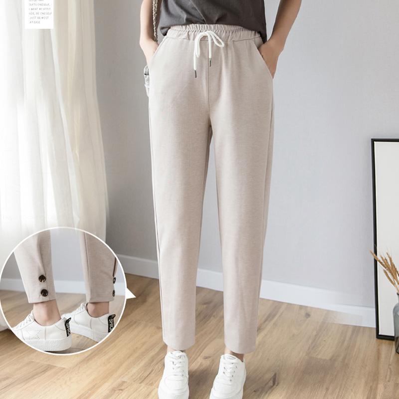 59d12d74c003fd Acquista Donna Harem Pants 2019 Primavera Estate Donna Moda Solid Elastico  Vita Alta Pantaloni Casual Pantaloni Larghi Pantaloni Sportivi Matita  Pantalone A ...