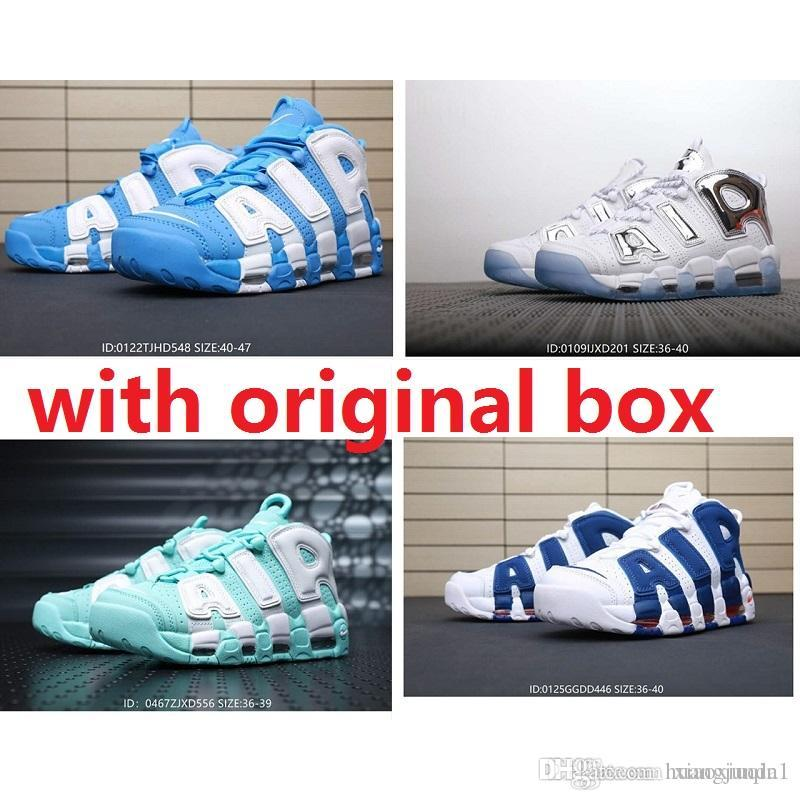 Billig Herren Air mehr Uptempo Basketballschuhe retro zu verkaufen Scottie Pippen 96 University Blue Sland Green Chrome Kinder Frauen Stiefel Turnschuhe