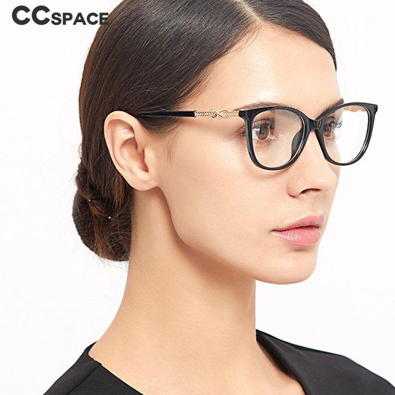 cbd325e3f18 2019 Cat Eye Rhinestone Glasses Frames Men Women Optical Fashion Computer  Glasses 45705 From Marquesechriss