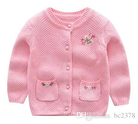 d407544d4 Winter Baby Cardigan Pink Floral Sweater With Pockets Suitable Wear ...