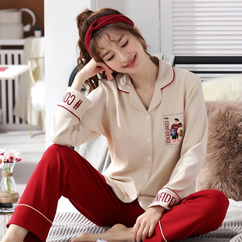 de48436e7 Compre Conjunto De Pijama De Algodón De Manga Larga 2019 Cuello Doblado Ropa  De Dormir Primavera Otoño Invierno Mujer Pijama Mujer Pijamas Con Estampado  ...