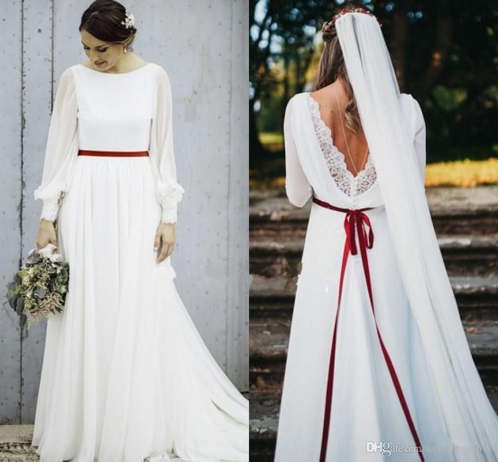 Country Western A Line Cheap Chiffon Bridal Gowns Beaded: Discount 2019 Bohemian Chiffon Long Sleeves Wedding