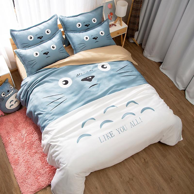 Japanese Anime Lucky Cat My Neighbor Totoro Kawaii Bedding Set Twin Queen King Duvet Cover Bedsheets for Children Boys and Girls