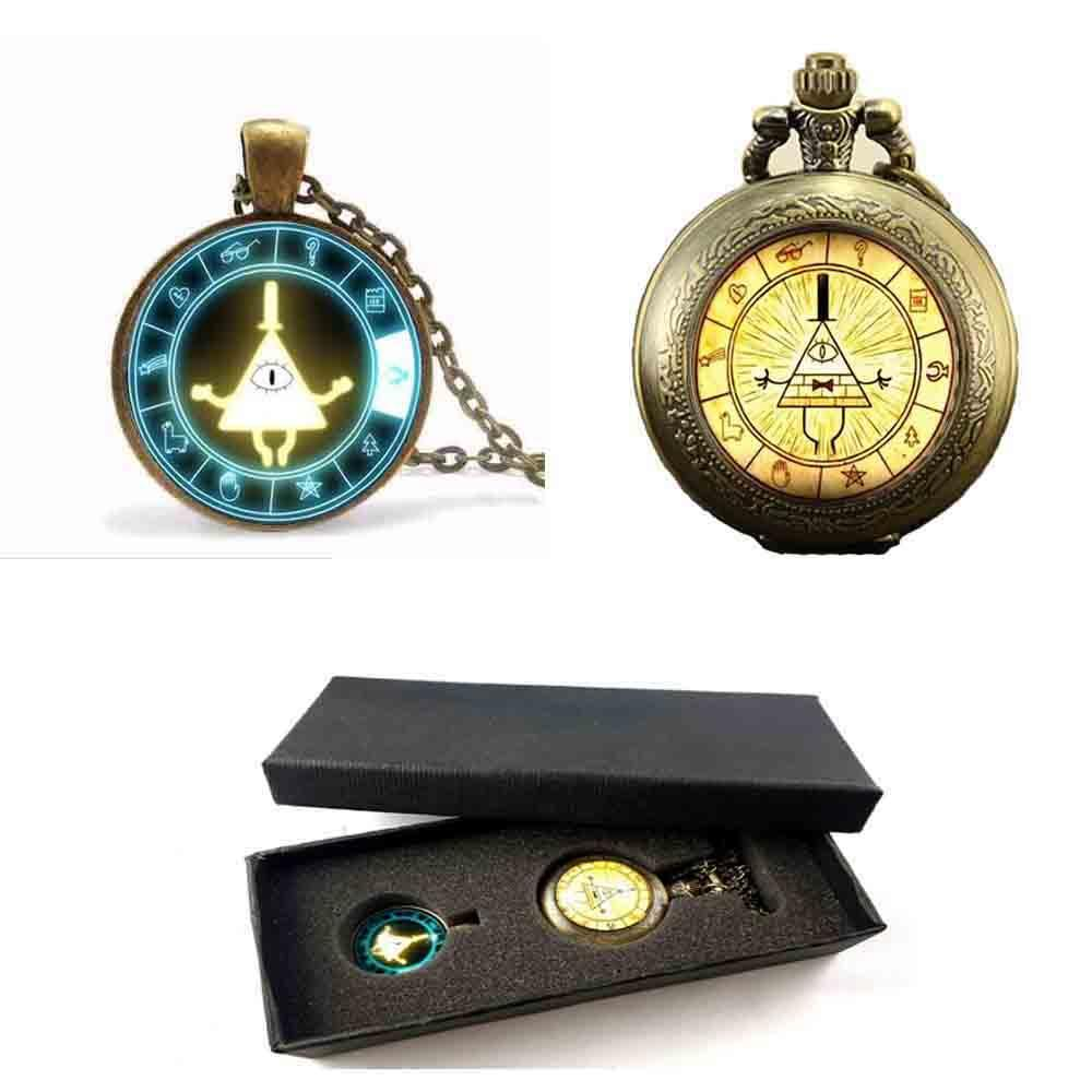 intera venditaSteampunk Gravity Falls mabel maiale BILL CIPHER WHEEL amici regalo Ciondolo Collana orologio da tasca scatola libera 1 pz / lotto display antico