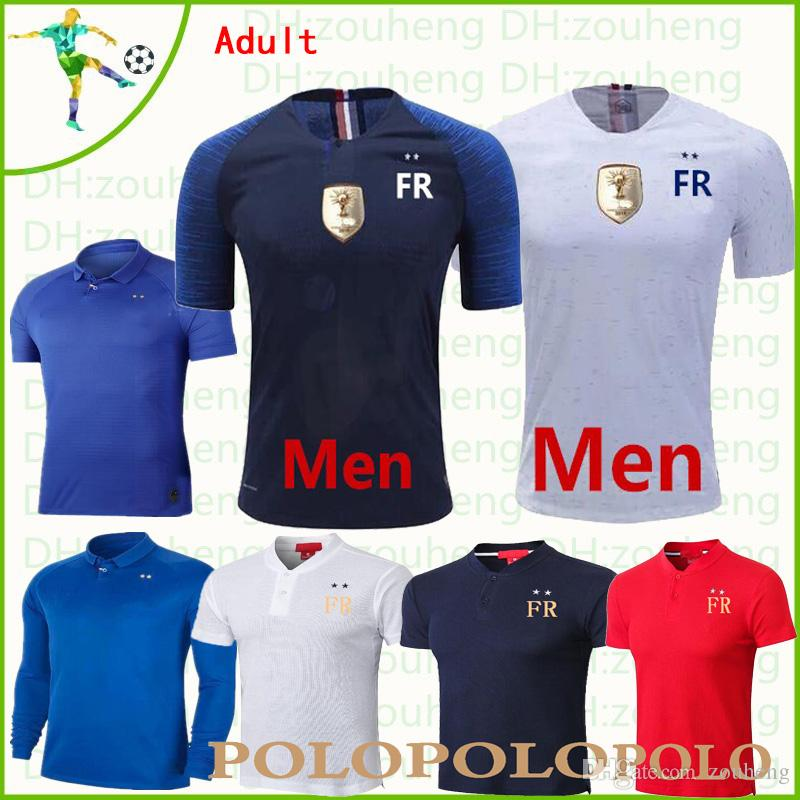 the best attitude 2d0ac 6f9ec France soccer jersey 2 stars 2019 20 home blue away white GRIEZMANN MBAPPE  POGBA football shirt men and women Short sleeve Polo shirt