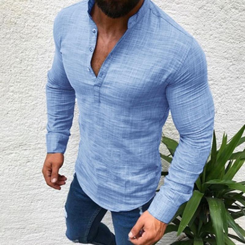 ce1a9ac18 Hombres Camisa de lino de algodón Moda Casual Manga larga Otoño Blusa  Camisas Hombre Fit Media camisa abierta Músculo Hombre Delgado Talla grande  ...