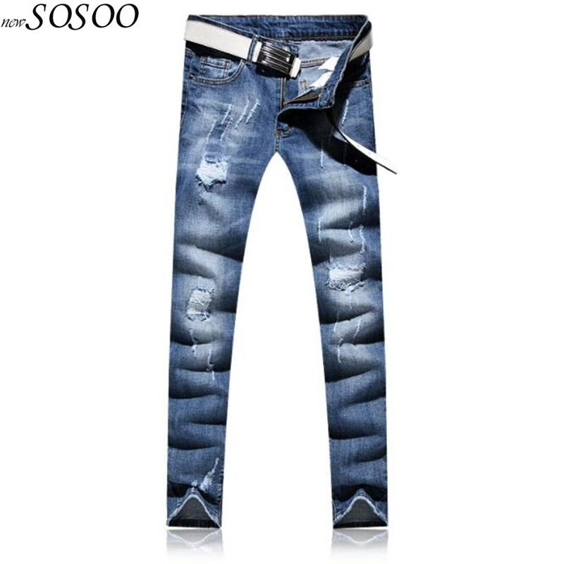JiSuTong brand Store New Fashion men jeans 100% cotton ripped jeans for men Korean style top quality mans pants #A00789