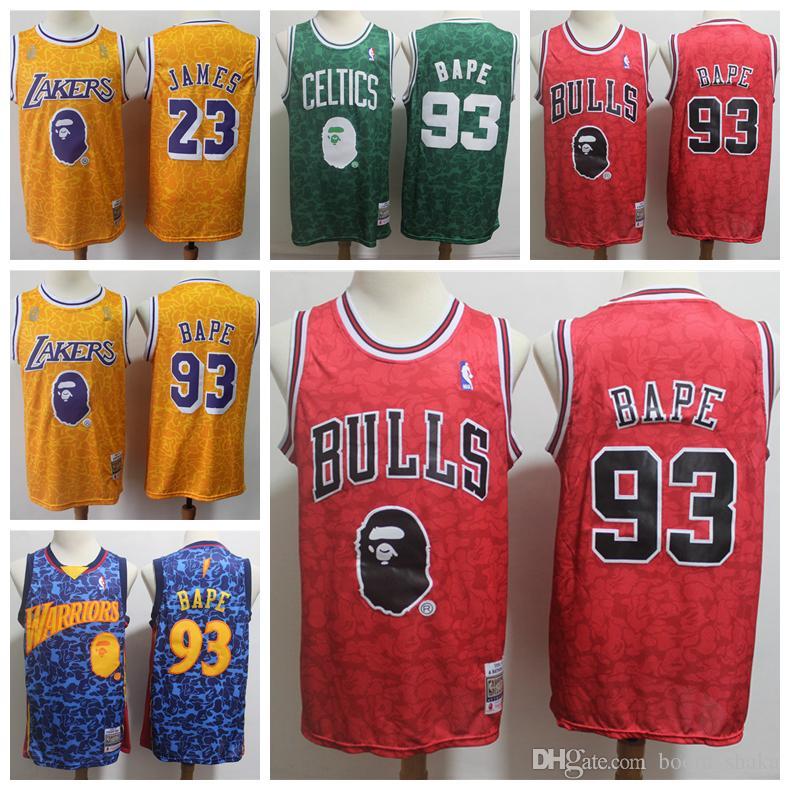 on sale 3dec0 0dc10 2019 Mitchell & Ness Retro Basketball Jersey Snoop Dogg #93 Basketball  Jersey Celtics Green Warriors Blue Lakers Yellow Bulls Red Jerseys
