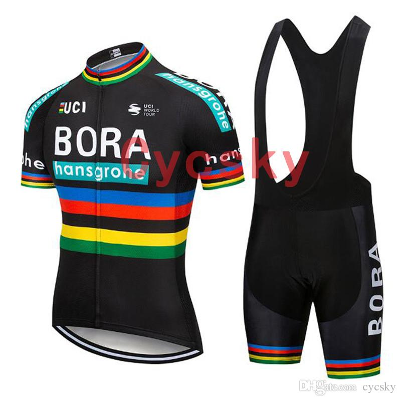 bora 2019 Black Cycling Jersey bib shorts Uniform Bike Clothing Bicycle Wear Clothes Men Short 9D Gel Pad Maillot Culotte Suit