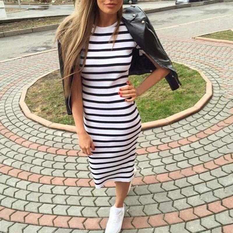 92e909362046 Casual Summer Women Dress Short Sleeve Round Neck Slim Fit Bodycon Dress  Striped Side Split T Shirt Womens Dresses Plus Size Formal Dresses Pageant  Dresses ...