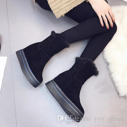 06c13924e4633 2019 Winter Women Studented Not Slip Fashion Shoes Cotton Padded Shoes  Short Ankle Snow Boots Keep Warm Flat Chunky Heel Increasing Height  Platform Boots ...