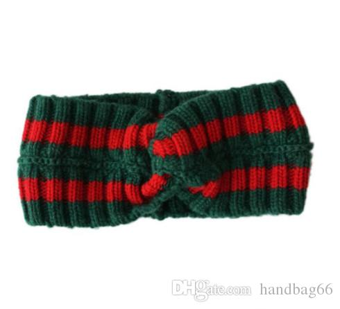 Hot Women's Scarf Red and green stripes Design Elastic Headband knit Hair Bands for Men and Women Retro Turban Best Quality Gifts