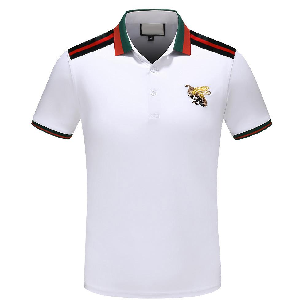 66f920139f3 2019 2018 Italy Designer Polo Shirt T Shirts Luxurious Brand Snake Bee  Floral Embroidery Mens Polos High Street Fashion Stripe Print Polo T Shirt  From ...