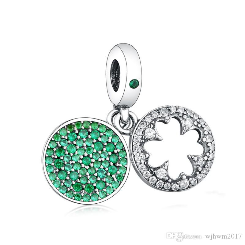 a9fd77848 2019 Authentic 925 Sterling Silver Charm Dazzling Lucky Four Leaf Clover  With Green Crystal Pendant Beads Fit Pandora Bracelet Diy Jewelry From  Wjhwm2017, ...