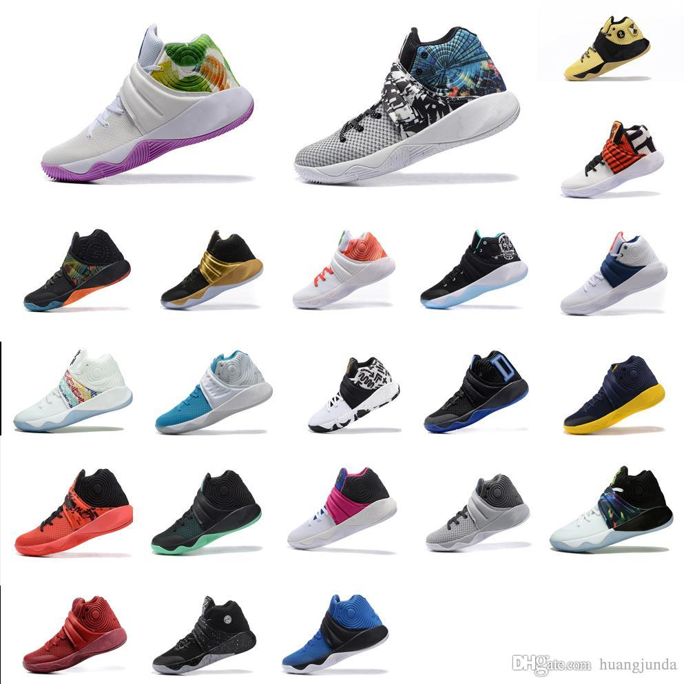 a949eaab01661 2019 Cheap Mens Kyrie Irving Basketball Shoes Red Rainbow Gold Black Grey  Blue Green Glow USA Two 2 II Sneakers Boots Tennis With Box Wholesale From  ...