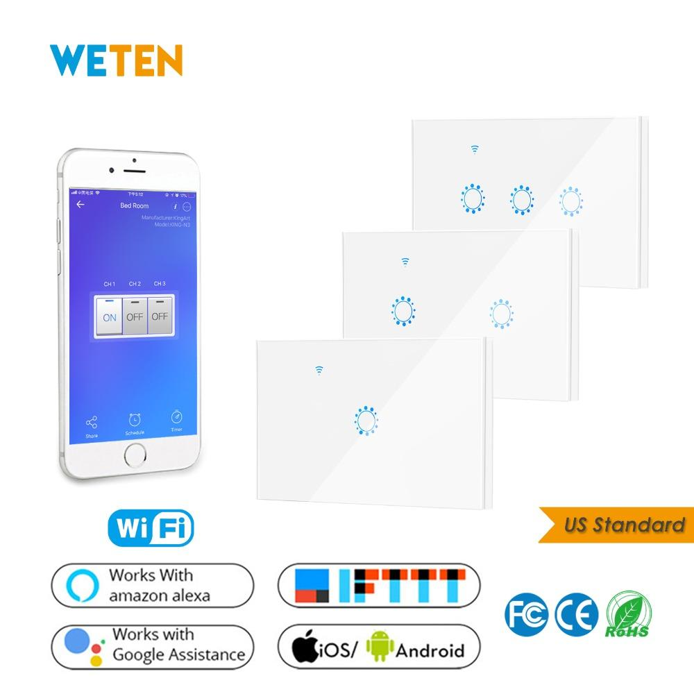 88ddc9064801 Wifi Wall Touch Switch 1 2 3 Gang Glass Panel Wall Light Switch Ewelink APP  Support Alexa Google Home US 220V White Smart Lighting Controls Smart Home  ...