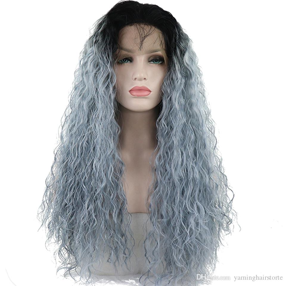 Frontal Wig Cosplay Synthetic Lace Front Wigs With Baby Hair Ombre Light blue Wig Long Curly Hair For Women