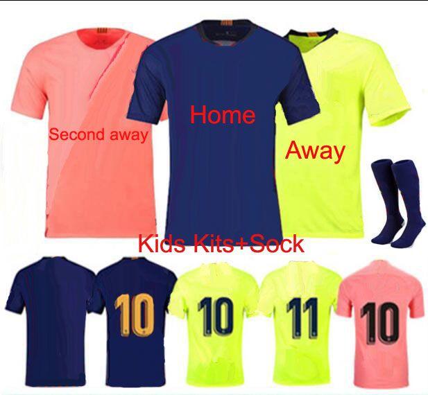detailed look b030f a6e65 10 Messi Barcelona Home Away kids Soccer Jersey 2019 Kids kits 8 Iniesta 9  Suárez 26 MALCOM 117 Coutinho children s Football uniforms shirts