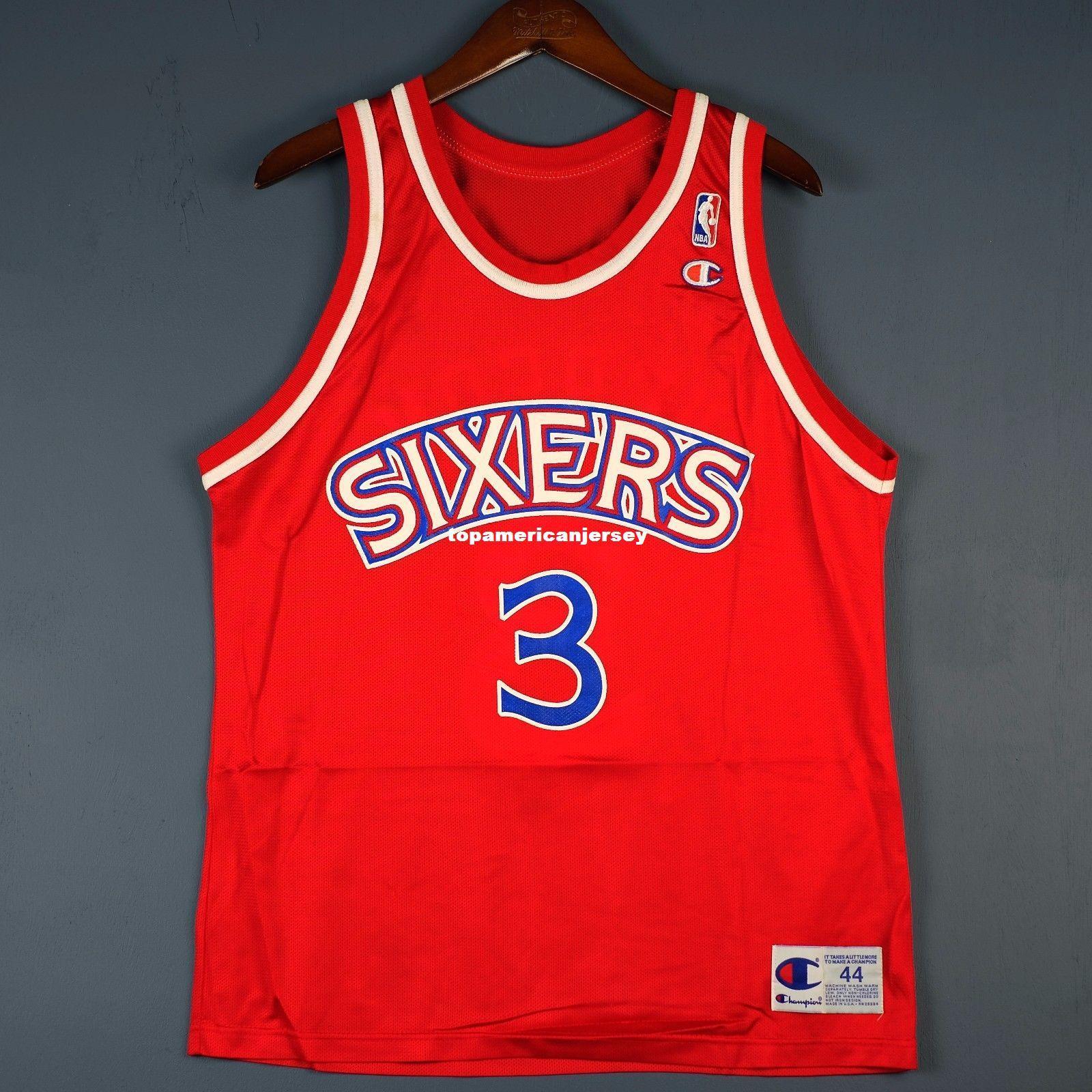3c0874ee9e2 Allen Iverson #3 Champion Sewn Wholesale Jersey Red Mens Vest Size ...