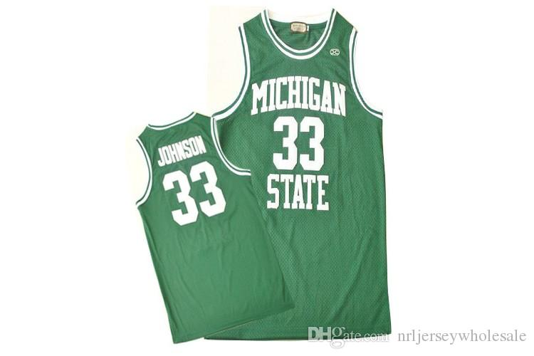 f6109103 2019 Michigan State Spartans Earvin Magic Johnson 33 College Hardwood  Legends Basketball Jersey Green Double Stitched Name And Number From ...
