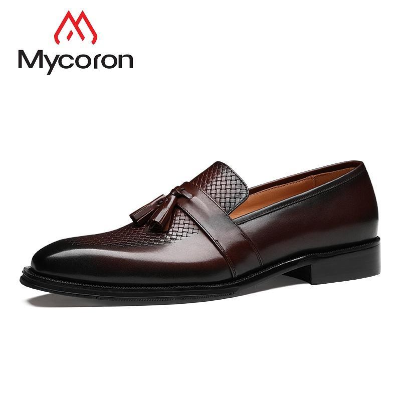 b8d155fb58 Compre MYCORON Diseñador De La Marca De Ocio Para Hombre Zapatos De Vestir  Botas De Cuero Genuino De Patente Del Dedo Del Pie Puntiagudo De La Boda  Zapatos ...