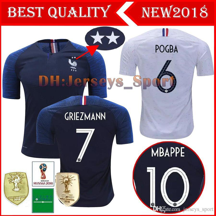 4062fb33f 2018 French World Cup Champions Soccer Jersey 2 Stars Two Home ...