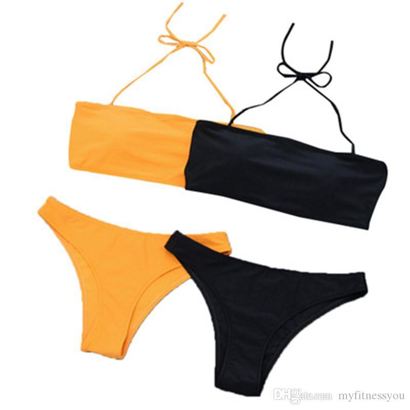 83a21d377815 2019 New Sexy Bikinis Set Traje de baño para mujeres Más el tamaño Ropa de  playa de verano Negro Ropa de baño de dos piezas para mujeres Bikinis Set  ...