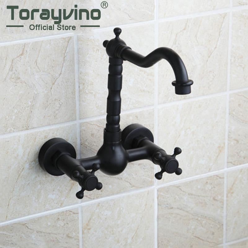 Bathtub Torneira Tall Hot/Cold Wall Mounted Oil Rubbed Black Bronze 97113 Bathroom Basin Vessel Sink Faucet,Mixer Tap