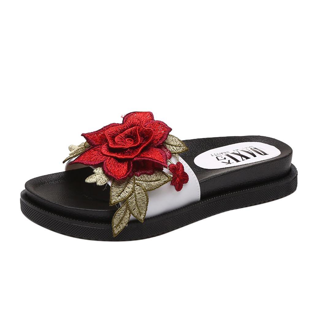 495a6b621b Compre Zapatillas De Verano Mujer Chanclas Moda Color Sólido Arco Sandalias  De Tacón Plano Zapatos De Plataforma Al Aire Libre Zapatos De Playa  Zapatillas ...