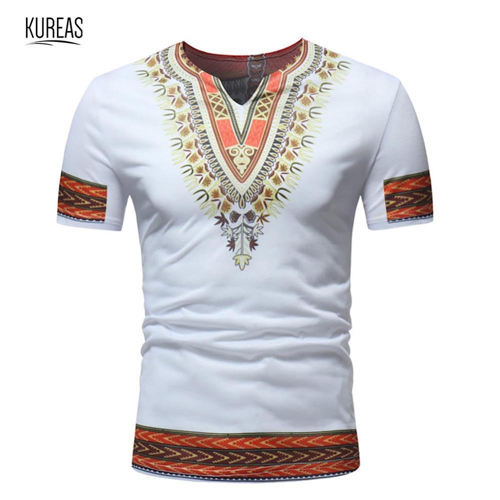Blusa Verano Manga Con Dashiki Tops De Estampado Kureas Gráfica Camiseta Camisas Casuales O Cuello Africano Corta Tribal Hombre xBoCedrW