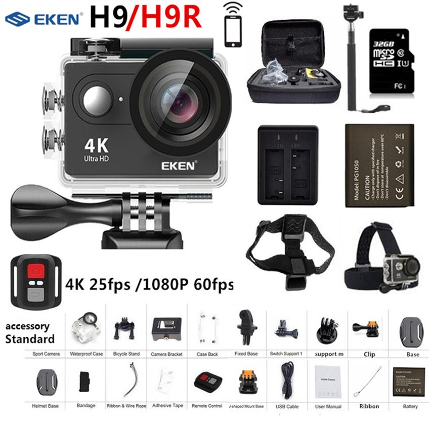 Original EKEN H9 H9R Action Camera Ultra HD 4K 25fps 1080P 60fps WiFi 2 170D go Mini Pro Underwater Waterproof Helmet Sport Cam