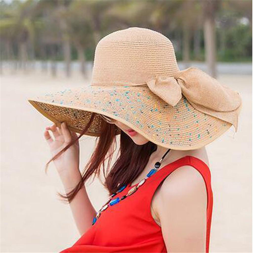 56b3c6e0d380e6 Summervisor Beach Straw Hat Women Big Brim Straw Bow Hat Sun Floppy Wide  Brim Beach Cap Foldable Sun UV Protection Panama Fedora Hats Visor Hats  From ...