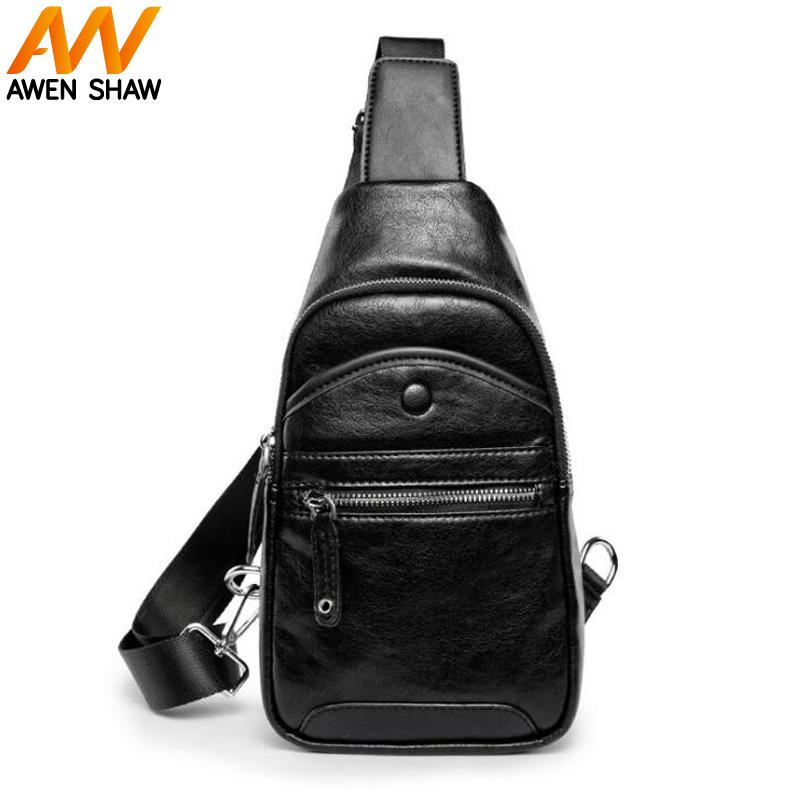 ee10a24ef Awen Shaw Vintage Sling Bag For Men PU Leather Crossbody Bag Anti Theft  Shoulder Black Chest Bags Tote Casual Fashion Korean NEW Camo Purses Cross  Body ...