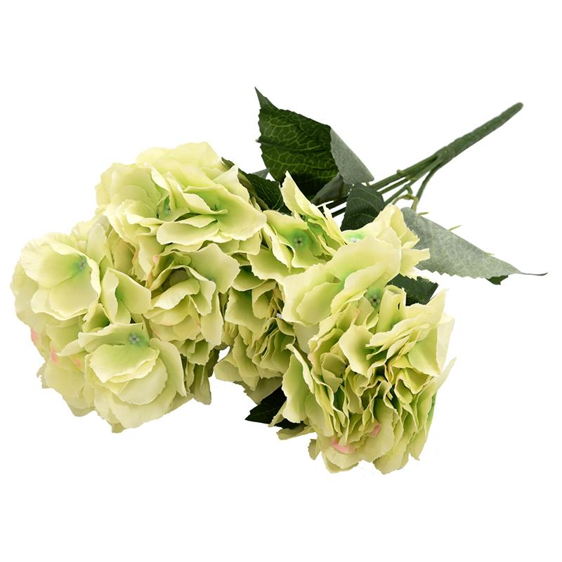 "Artificial Hydrangea Flower 5 Big Heads Bouquet (Diameter 7"" each head) Green"