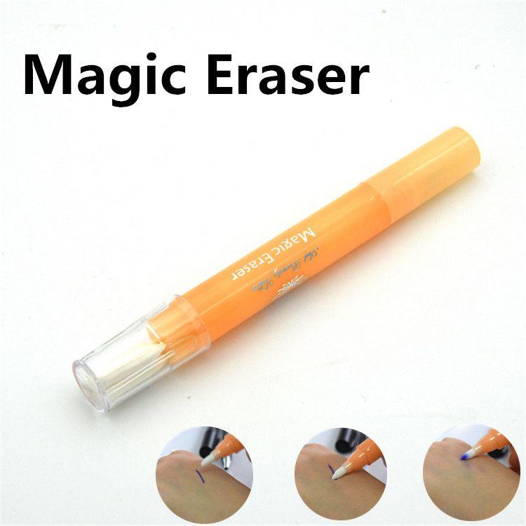 눈썹 문신 스킨 마커 펜 측정 눈금자 및 매직 지우개 리무버 브러쉬 펜 영구 화장 스크라이브 도구