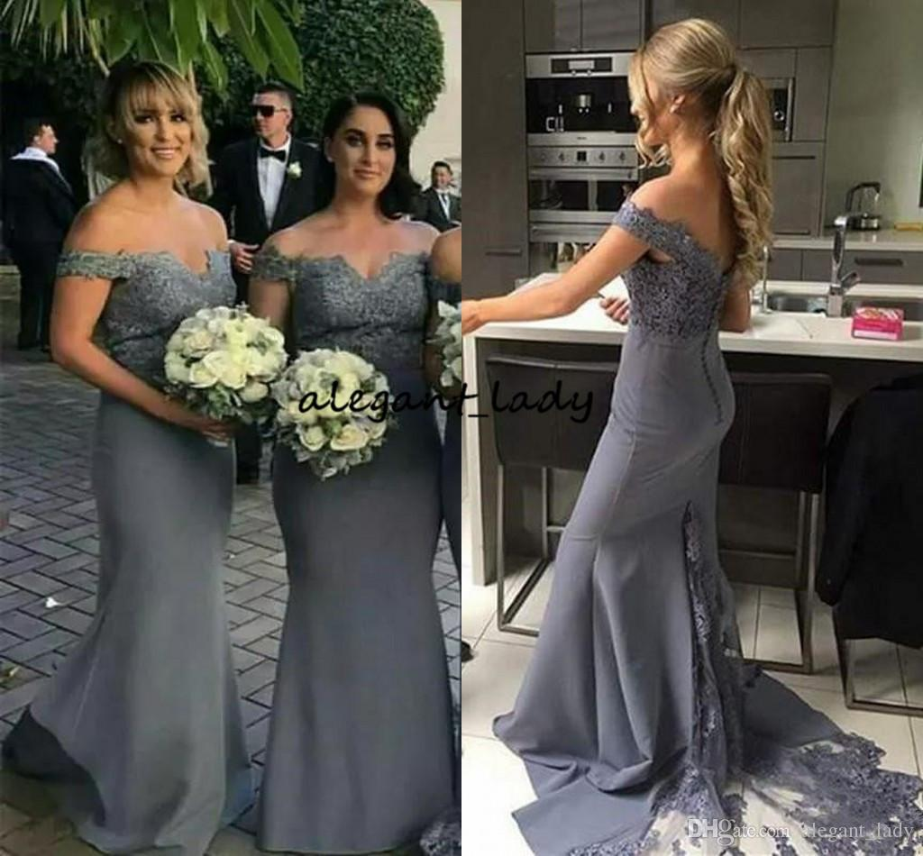 2019 Mermaid Slim Bridesmaid Dresses Off Shoulder Arabic Mermaid Lace Applique Long Button Back Dubai Maid Of Honor Wedding Party Prom Gowns