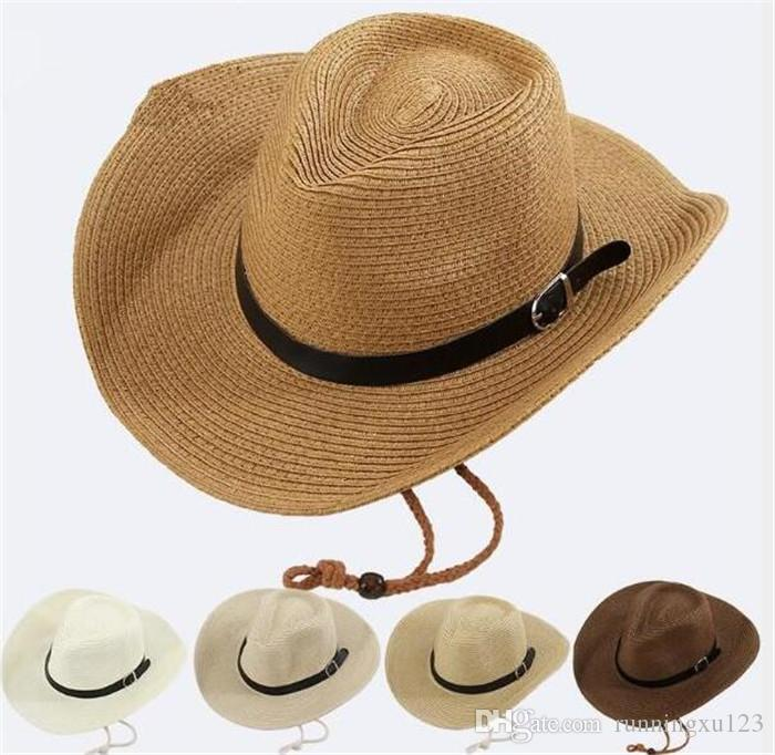 16b6e216 Straw Braid Men Cowboy Hats With Buckle Western American Mens Hat Lady  Beach Hats R255 Summer Hats For Women Bucket Hats For Women From  Runningxu123, ...