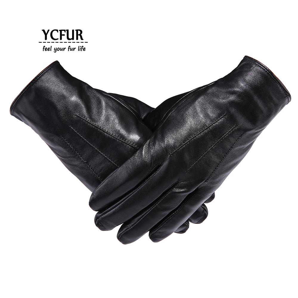 YCFUR Genuine Leather Gloves Mittens Men Soft Warm Winter Gloves Men Whole Pieces Genuine Sheepskin Men's Male