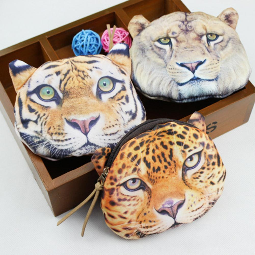 Innovative Leopard Pattern Coin Purses Mini Tiger Fashion Girl Women Lady Wallet Earphones Storage Bag Zipper Coins Purse Bags