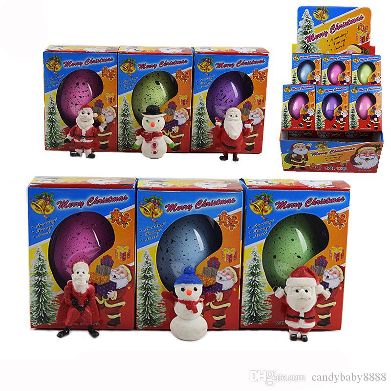 Wonderful Growing Magic Christmas Egg Santa Claus Snowman Inflated Easter Egg Educational Toy Novelty Xmas Kids Gift 6 colors C2043