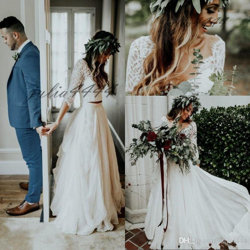 3d8b9b2081c0 Discount Bohemia Long Chiffon Wedding Dresses Lace Flow Beach Two Pieces Wedding  Gown Sexy Deep V Neck Backless Bridal Dresses Vestidos Wedding Dress Es A  ...
