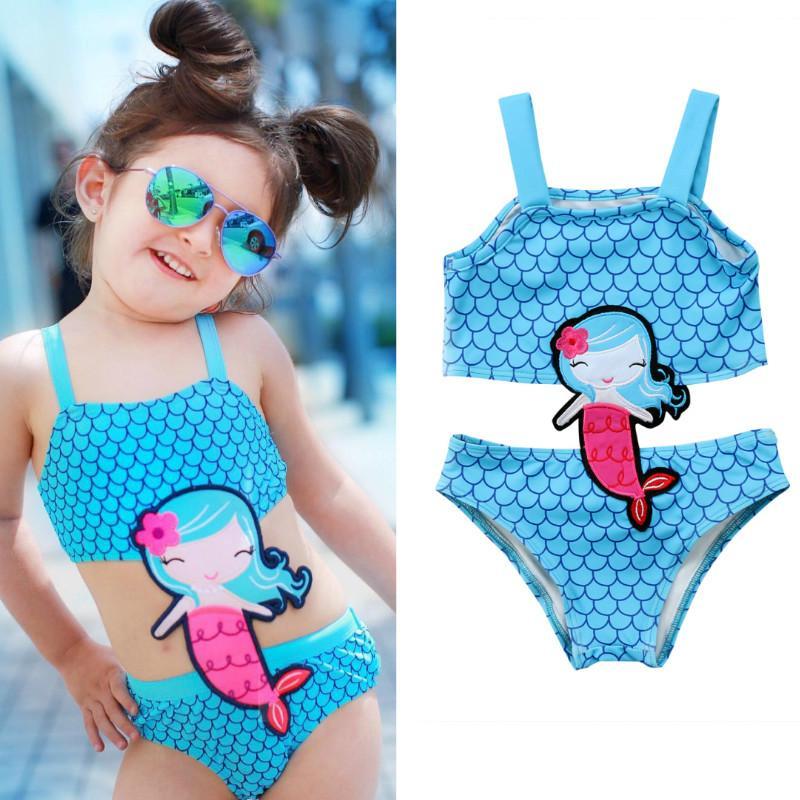 1f0be34d4bbf Acquista Pudcoco Neonati Bambini Neonate Mermaid Costumi Da Bagno Costume  Da Bagno Senza Maniche Costumi Da Bagno Del Fumetto Costume Da Bagno  Ragazze ...